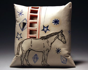 GET OFF your HIGH horse (porcelain wall pillow)