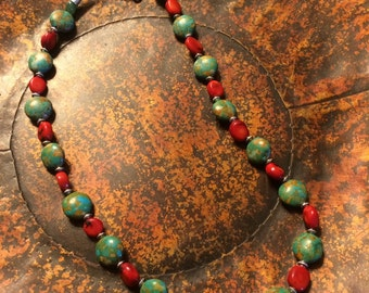 Turquoise stone & red coral necklace with silver spacer beads