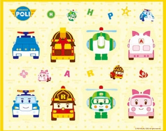 Robocar Poli Korean Anime Character Fabric made in Korea, Cars, Kids, By the Yard