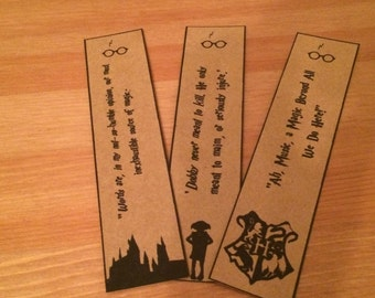 Harry Potter Bookmarks - Dobby, Hogwarts, Dumbledore. Great Gift. Set of 3.