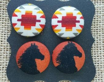 Large Fabric Button Earrings-Orange Native and Orange Horse