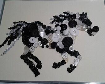 Button art galloping horse