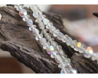 SALE - Vintage Faceted Aurora Borealis Crystal Multi strand  Necklace