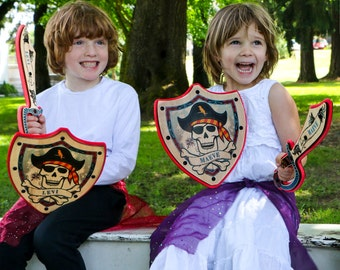 Personalized Pirate Sword AND Shield Set - Made with Real Wood - Add a Name for a Custom Gift