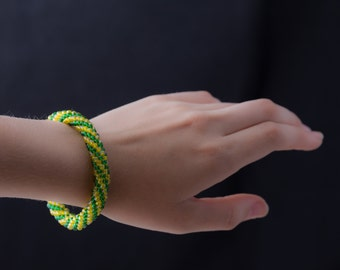 Yellow and Green Spiral Bracelet