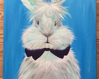 Rabbit painting, nursery art, customizable bunny painting.