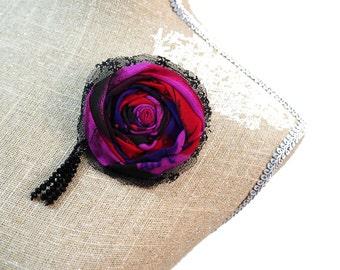 Black Brooch Purple Brooch Pink Brooch Lace Brooch