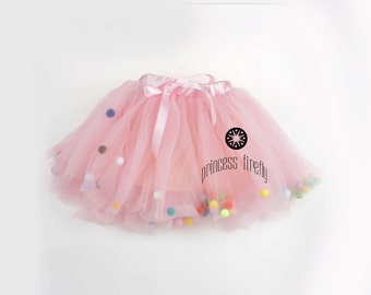 CONFETTI BUBBLES Tutu in Pink - toddler - tulle - rainbow - photo prop - party