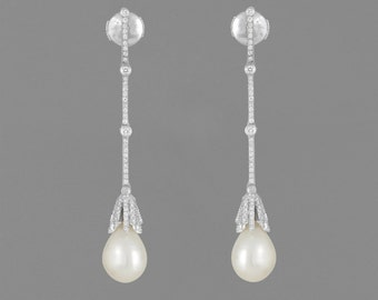 Earrings white gold 14 K Pearl and diamond 3.20 /aros CT