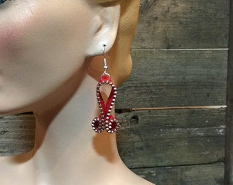 Red Zipper Earrings