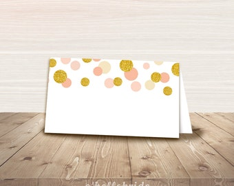 Printable Coral Gold Blush Dots Theme Food Tent Cards - Food Labels - Bridal Shower Place Cards - Baby Shower Tent Cards - Wedding Cards 020
