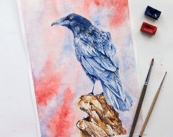 "Free Shipping - Print of watercolor ""Crow"""