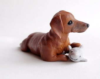 Custom dog figurines , hand made in polymer clay - miniature figurine of your Dog - please note there is a waiting list. Dachshund