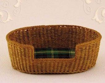 Dollhouse, miniature, wicker, dog basket, large, 1 : 12 scale,  WC/504.