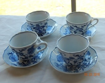 Blue Danube, Cup and Saucer, 4 sets. FREE SHIPPING