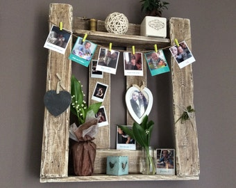 Shelf / photo frame wooden pallets patinated white and burnt oak aged