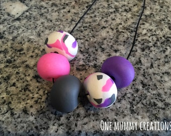 Polymer Clay Necklace - Cheeky Pink & Purple