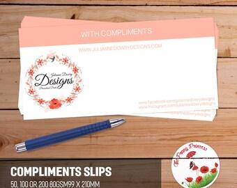 Compliments Slips business slips
