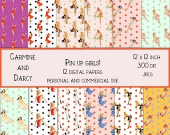 Pin up girls digital papers! retro, rockabilly, party supplies, digital download!!