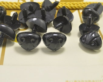 NOSE - 10pcs 23mm Black Dog Nose Plastic Safety Nose Stuffed Animals Noses Amigurumi Plastic Safety Nose Crochet doll.
