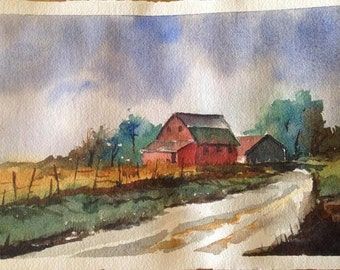 Kansas Farm, Original Watercolor, Rustic Red Barn