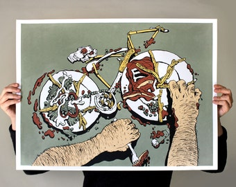 Dinner - 5 Color Bicycle Bike Food Screen Print Poster Wall Art