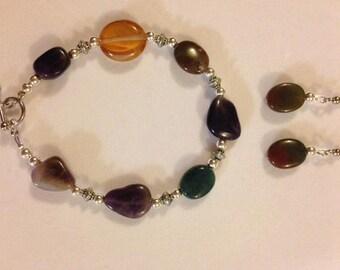 8 inch Multi-Stone Bracelet and Earrings