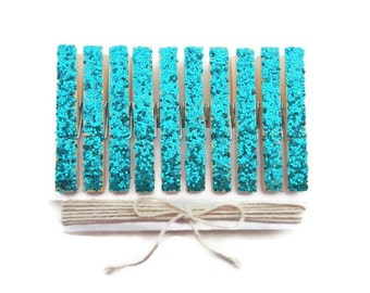 Gold Glitter Clothespins. Turquoise. Silver Clothespins. Set of 10. Glitter Clothespins. Wedding Decor. Party Decor.Anniversary Party Decor.