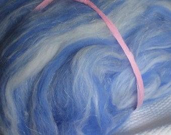 Merino wool with linen, exclusive fiber batt, hand carded, 100 g