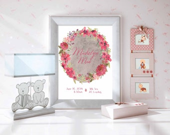 Custom Birth Name 8x10 Nursery Wall Art-Pink Wreath Nursery Wall Art (Baby's name and birth stats)