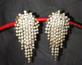 Vintage Rhinestone Drop Clip-on Earrings Bridal wear Catwalk Showgirl Art Deco