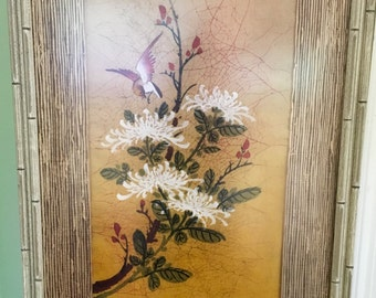 Vintage P. Chan Chinese Botanical/Bird Acrylic on Silk Batik 1940's Asian Art Collectable