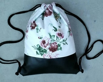 Gym bags with floral and black leatherette