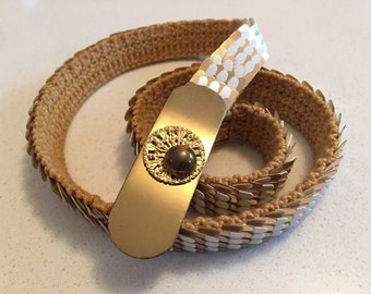 Vintage 80's Stretch Scale Belt - White & Gold
