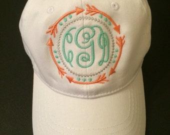 Arrow & Dots Monogrammed Hat