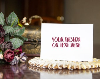 White Card on a Table with Flowers / Stock Photography / Product Mockup / High Res File