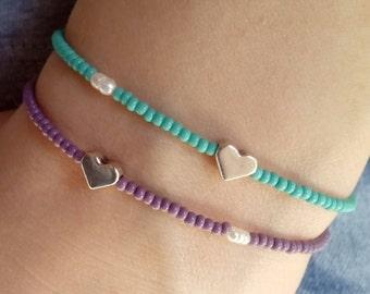 Beaded heart bracelet, czech bracelet, heart bracelet, gift for her