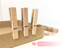"""Handcrafted Wooden Clips, Clothespins, Pinches, 1.77"""" (4.5 CM= Medium), Laundry Pins"""