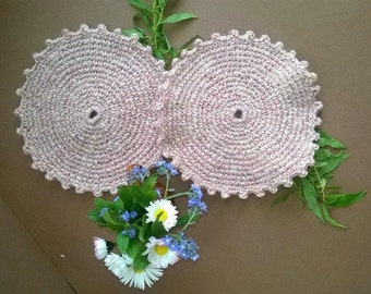 Wool crochet doily  Crochet Doily Pan Handle Covers  Handmade Doily Centerpiece Doily Set