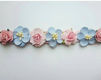Pink and blue flower crown