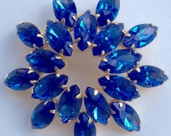 Vintage Royal Cobalt Blue Rhinestone Brooch