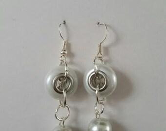 "White glass ""pearl"" earrings"