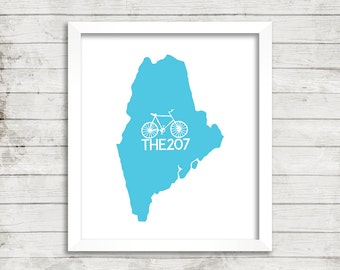 Bike, Bicycling, Map, 207,  Fine Art Print, Wall Art, any COLOR/STATE, Home Decor, Maine