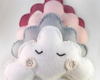 Sleeping felt cloud mobile in white, nursery children's deco, handmade wall hanging,