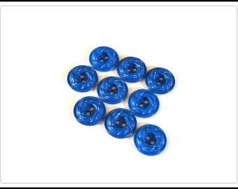 Blue Plastic Buttons - Blue Sew Through Style Buttons