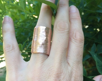Sterling Silver, Copper Embellishment Cuff Ring, Handmade Jewelry, One of a Kind Jewelry, Copper Rings, Silver Rings