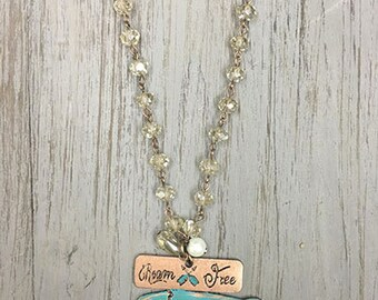 Vintage Shabby Chic Roam Free Buffalo Necklace