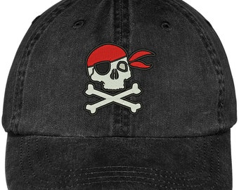 PIRATE SKULL Embroidered Cotton Washed Baseball Cap - 5 Colors! (LOG211-MGC-7601)