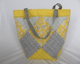 Quilted Grey + Yellow Print Flower Bag XLarge Tote Bag