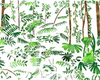 Hand Printed Rainforest Habitat Screen Print A4